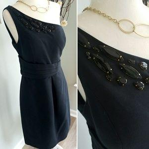 Kay Unger one shoulder structured black dress